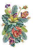 Beautiful vector floral pattern, spring summer background with exotic flowers. Vector illustration