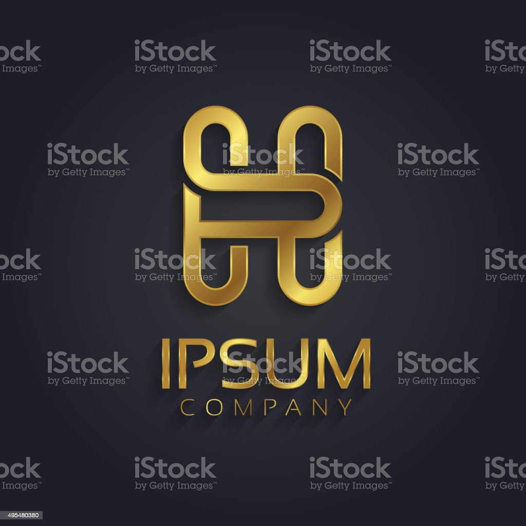 Beautiful Vector Graphic Gold Alphabet Letter H Symbol Stock Vector