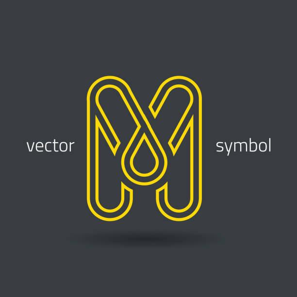 Beautiful Vector Graphic Gold Alphabet Letter M Symbol Stock Vector