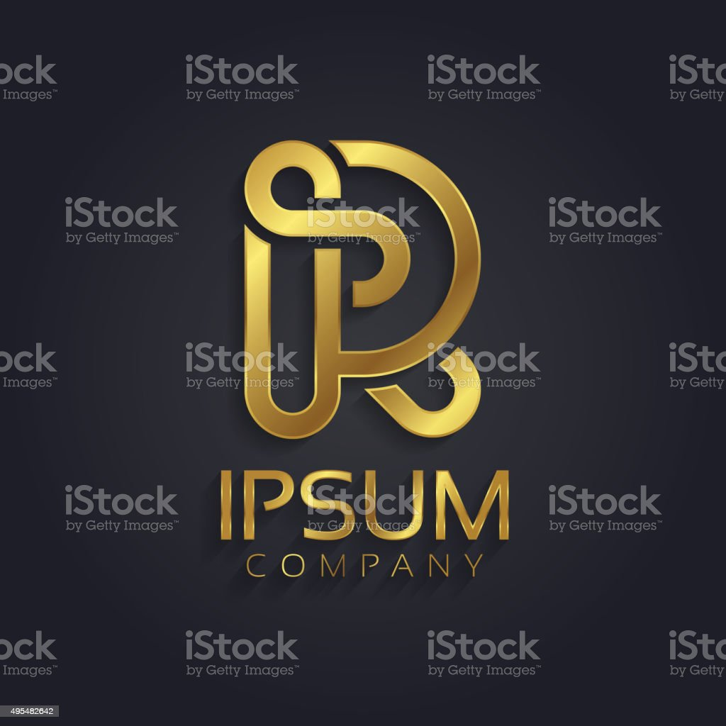 Beautiful Vector Graphic Gold Alphabet Letter R Symbol Stock Vector