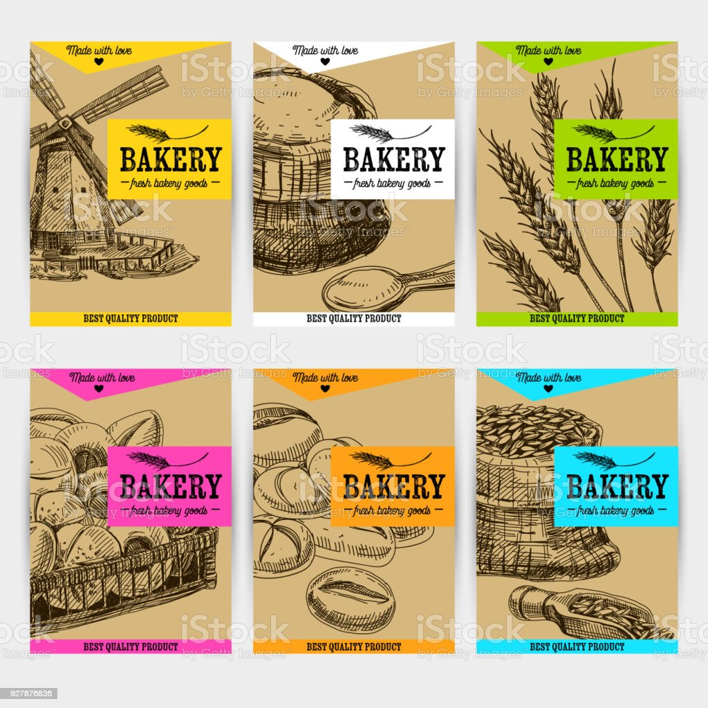 Beautiful vector hand drawn bakery card set. vector art illustration