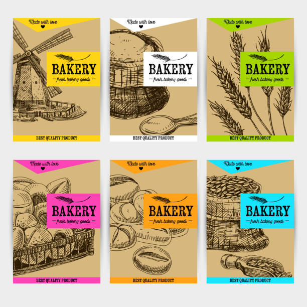 Beautiful vector hand drawn bakery card set. Beautiful vector hand drawn bakery card set. Detailed trendy style images. Modern sketch elements collection for packaging or cards design. bread backgrounds stock illustrations