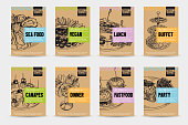 Beautiful vector hand drawn catering servise food card set. Detailed trendy style images. Modern sketch elements collection for packaging or cards design.