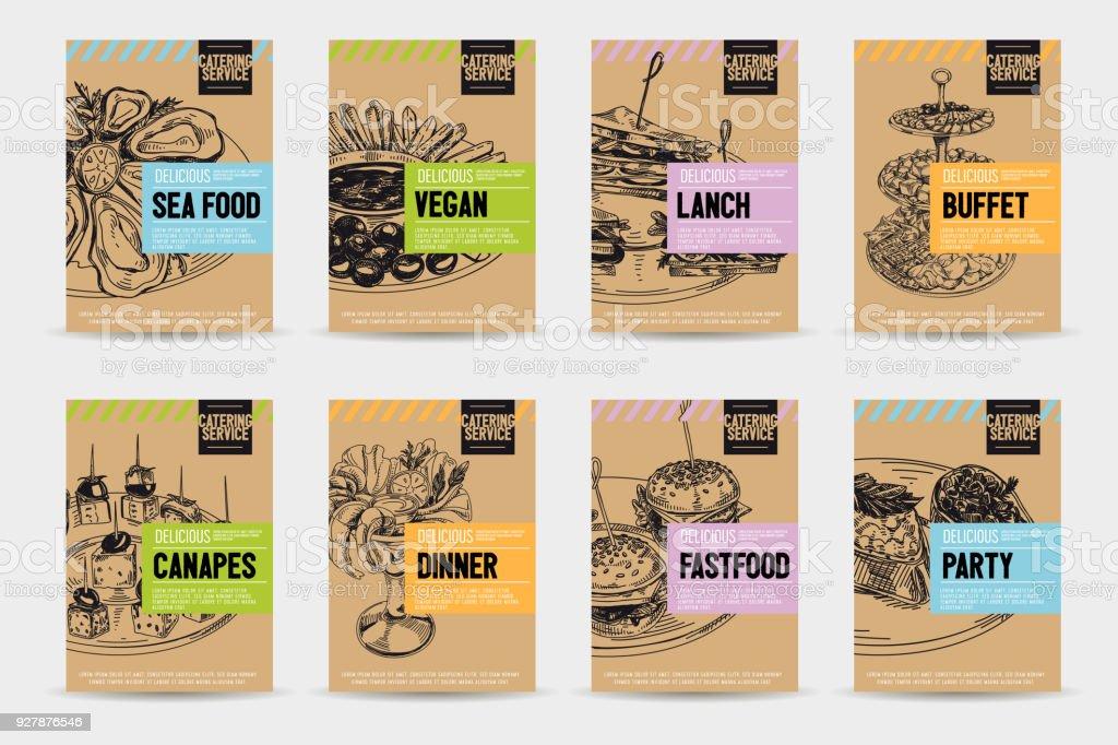Schöne Vektor handgezeichnete catering Servise-Lebensmittel-Karten-Set. – Vektorgrafik