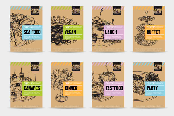 Beautiful vector hand drawn catering servise food card set. Beautiful vector hand drawn catering servise food card set. Detailed trendy style images. Modern sketch elements collection for packaging or cards design. bread backgrounds stock illustrations