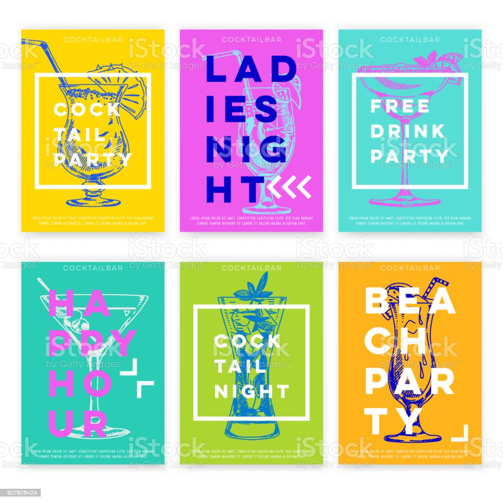 Beautiful vector hand drawn Cocktail bar card set. vector art illustration