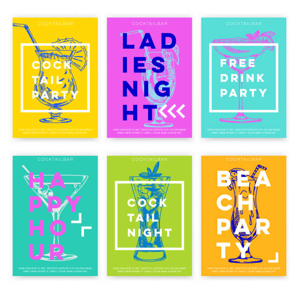 beautiful vector hand drawn cocktail bar card set. - poster stock illustrations
