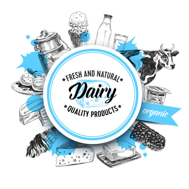 Beautiful vector hand drawn dairy products Illustration. Beautiful vector hand drawn dairy products Illustration. Detailed retro style background. Vintage sketches for labels. Elements collection for design. organic farm stock illustrations