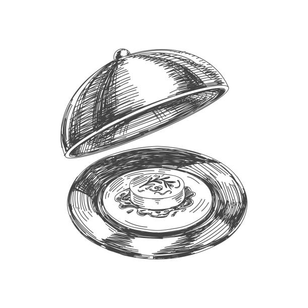 beautiful vector hand drawn restaurant stuff illustration. - fine dining stock illustrations, clip art, cartoons, & icons