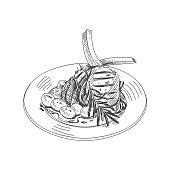 Beautiful vector hand drawn restaurant stuff Illustration.