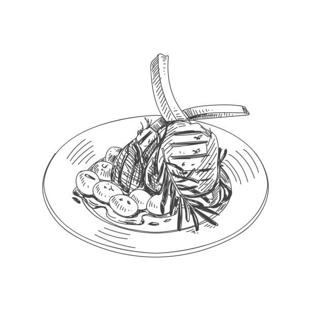 美しいロゴベクトルの手には、レストラン スタッフの図が描画されます。 - 高級料理点のイラスト素材/クリップアート素材/マンガ素材/アイコン素材