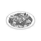 Beautiful vector hand drawn restaurant stuff Illustration. Detailed retro style salad with tomatoes image. Vintage sketch element for labels, packaging and cards design.