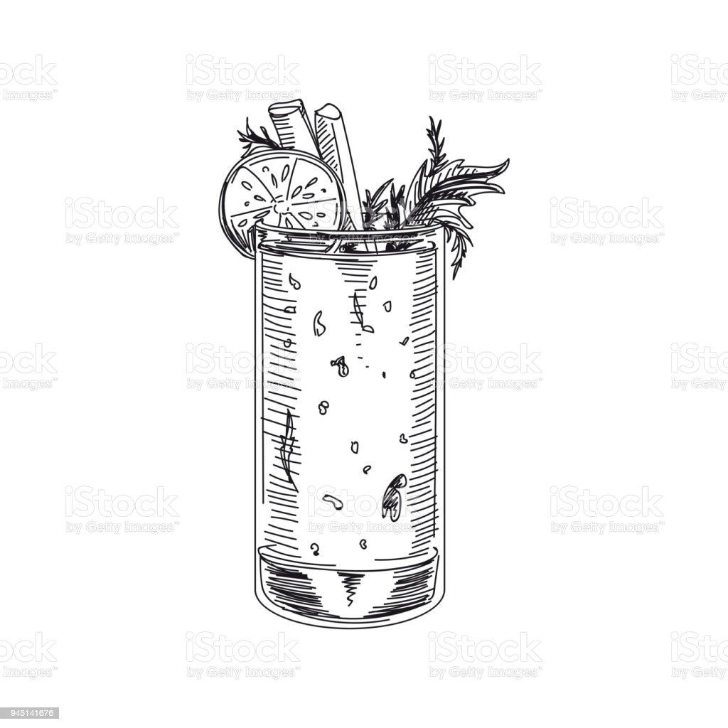 Schöne Vektor Hand gezeichnete Smoothie Illustration. – Vektorgrafik