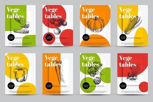 Beautiful vector hand drawn vegetables card set.