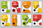 Beautiful vector hand drawn vegetables card set. Detailed trendy style images. Modern sketch elements collection for packaging design.