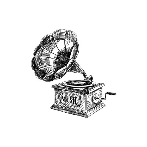 Beautiful vector hand drawn vintage Illustration. Beautiful vector hand drawn vintage gramophone Illustration. Detailed retro style images. Sketch element for labels and cards design. obsolete stock illustrations