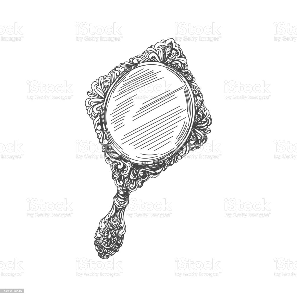 antique hand mirror drawing. Brilliant Mirror Beautiful Vector Hand Drawn Vintage Illustration Art Illustration For Antique Hand Mirror Drawing L