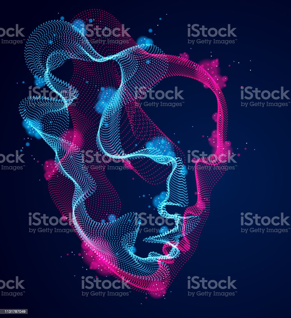Beautiful vector human face portrait, artistic illustration of man head made of dotted particles array, Artificial Intelligence, pc programming software interface, digital soul. - Royalty-free Abstrato arte vetorial