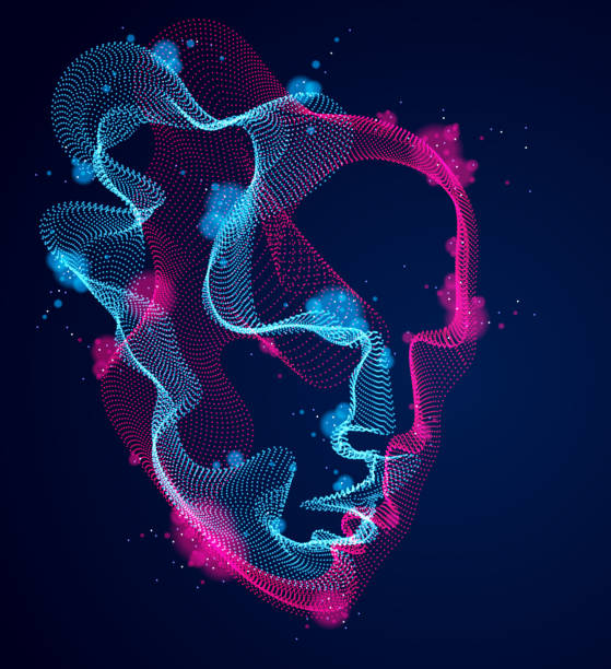 beautiful vector human face portrait, artistic illustration of man head made of dotted particles array, artificial intelligence, pc programming software interface, digital soul. - sztuczna inteligencja stock illustrations