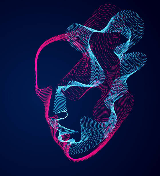 ilustrações de stock, clip art, desenhos animados e ícones de beautiful vector human face portrait, artistic illustration of man head made of dotted particles array, artificial intelligence, pc programming software interface, digital soul. - active brain