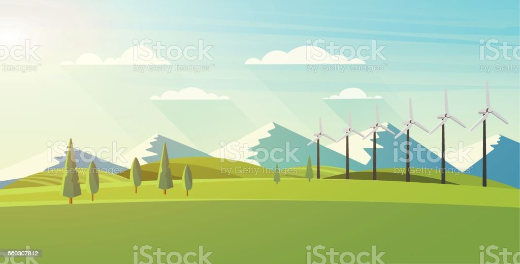 Beautiful vector landscape with eco windturbines. vector art illustration