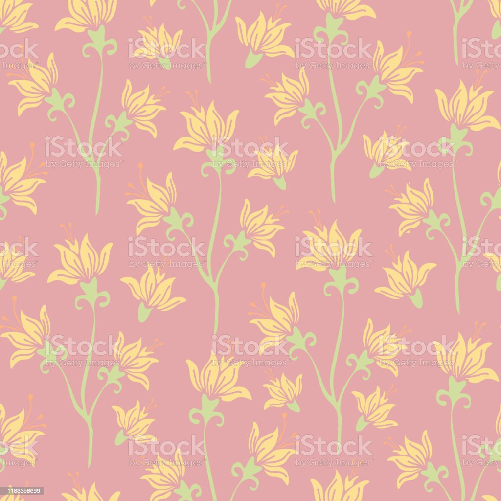 Beautiful Vector Seamless Pattern With Lilys On Light Pink