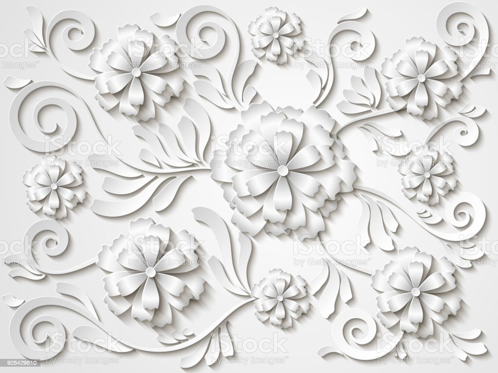 Beautiful Vector Vintage White Floral Background With 3d Flowers