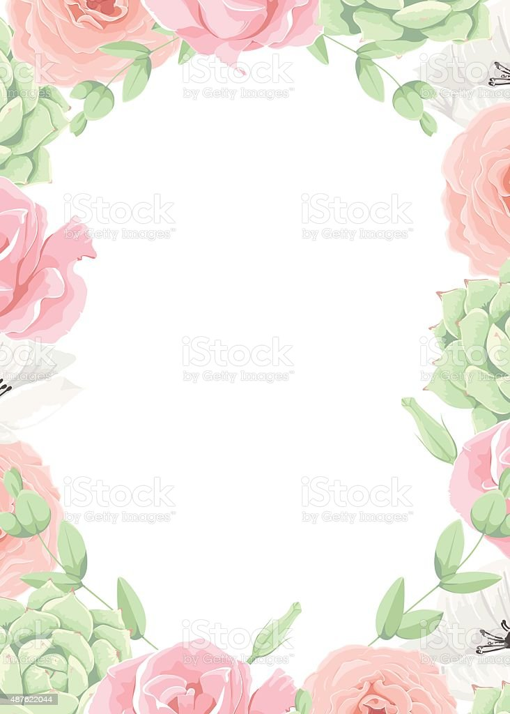 Beautiful Vector Wedding Floral Frame Invitation Template Stock
