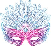 Beautiful Venetian carnival mask with feathers. Vector illustration for t-shirt print, poster, greeting card, banner, flyer or other design.