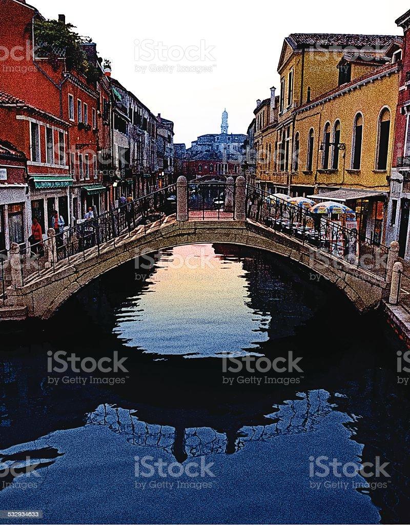 Beautiful Venice, Italy Bridge vector art illustration