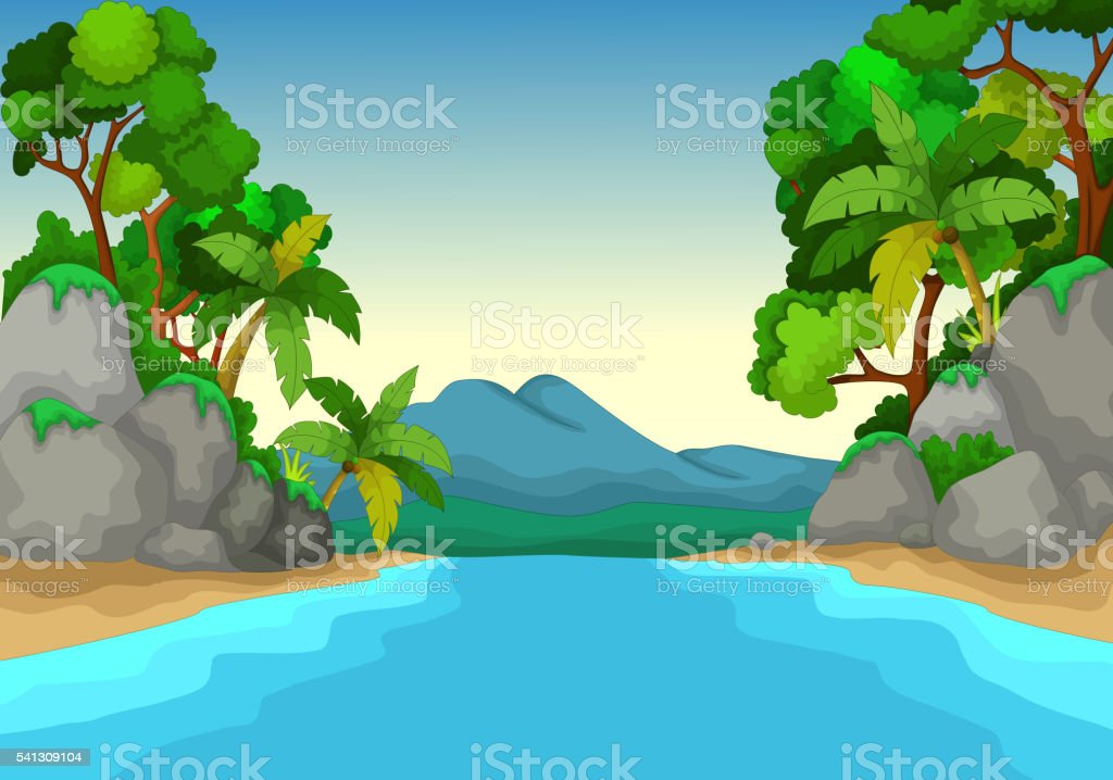 Beautiful View Of River Cartoon With Forest Landscape