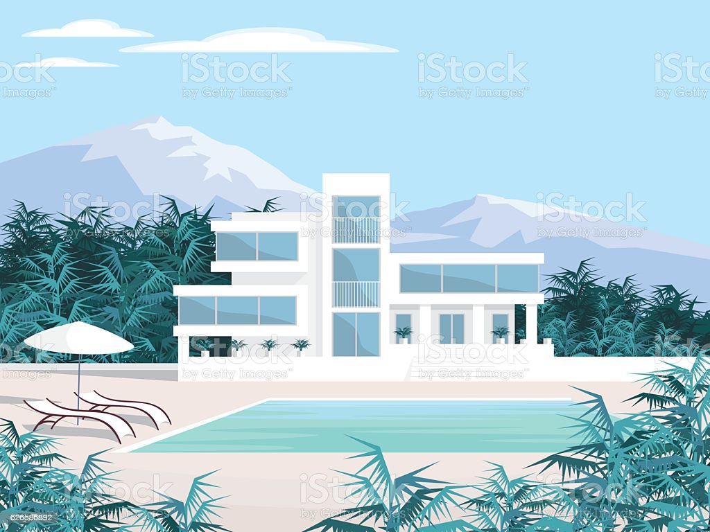 beautiful Villa in the mountains vector art illustration