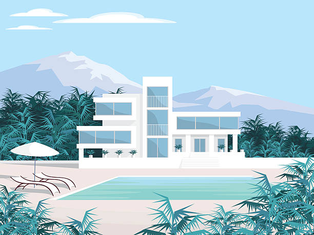 beautiful Villa in the mountains Abstract image of a large, beautiful country house. Luxury Villa in the mountains surrounded by tropical plants. Vector background. villa stock illustrations