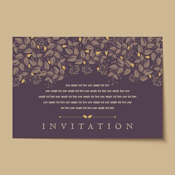 ilustraciones, imágenes clip art, dibujos animados e iconos de stock de hermosas tarjetas de invitación vintage diseños - moda de otoño
