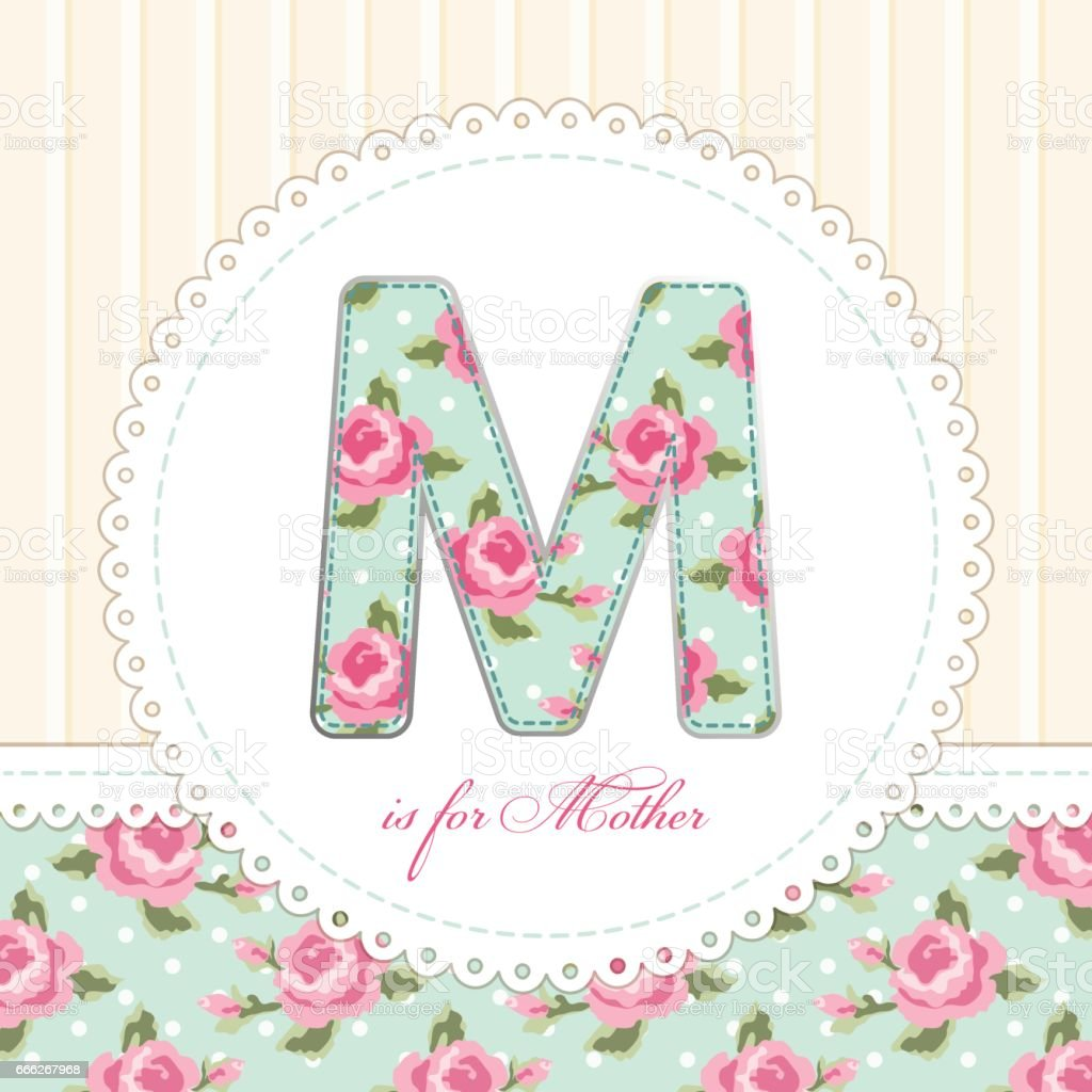 Beautiful Vintage Mothers Day Card With Patch Applique Of Letter M