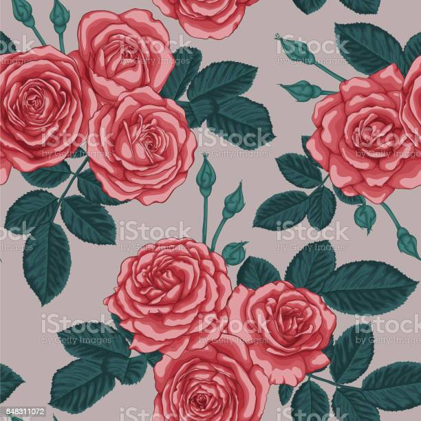Beautiful vintage seamless pattern with bouquets of roses and leaves vector id848311072?b=1&k=6&m=848311072&s=612x612&h=rllauhczhclit fabaa1tlr3p0ia2 gll cobbi6sy0=
