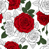 beautiful vintage seamless pattern with red, black and white roses. design greeting card and invitation of the wedding, birthday, Valentine s Day, mother s day and other holiday