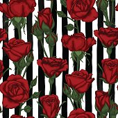 beautiful vintage seamless pattern with rosebuds, leaves and stems on black and white watercolor stripes . design greeting card and invitation of the wedding, birthday, Valentine s Day, mother s day and other holiday