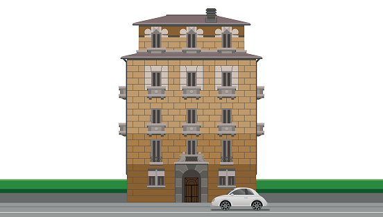 Beautiful vintage style house in Milan Italy and white car parked