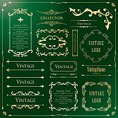 Beautiful vintage tones frame set, collection of design materials