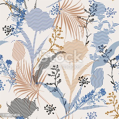 Beautiful  vintage Vector botanic silhouette floral seamless pattern on modern zigzag stripe Fill-in, delicate  wallpaper, wild flowers wallpaper on light beige background color