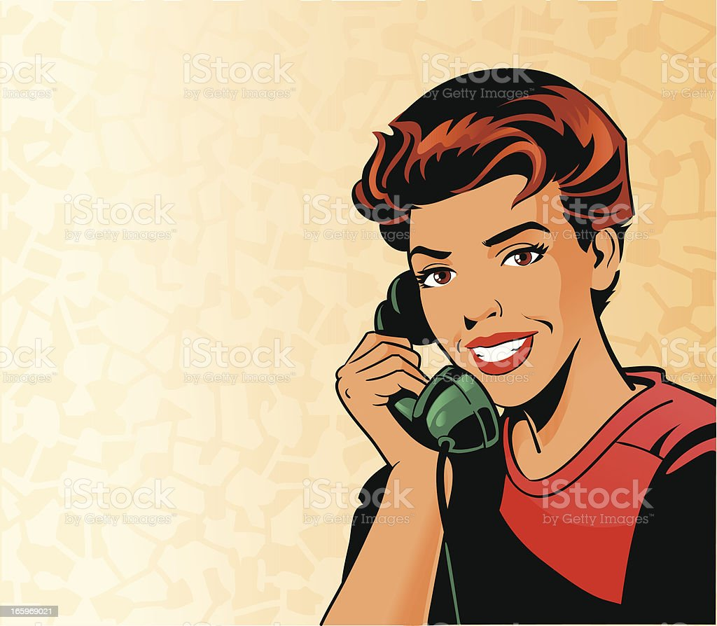 Beautiful Vintage Woman on the Phone royalty-free beautiful vintage woman on the phone stock vector art & more images of adulation