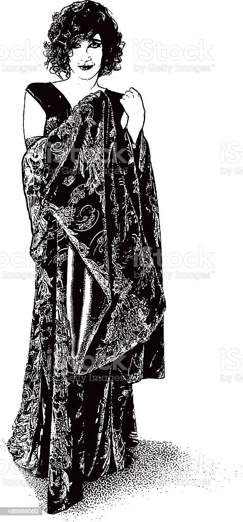 Beautiful Vintage Woman Wearing Robe and Lingerie vector art illustration