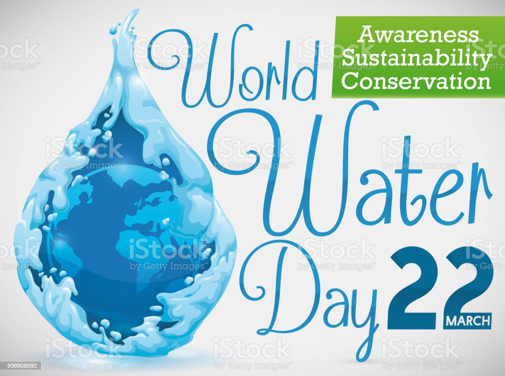 Beautiful water drop with earth planet for world water day stock beautiful water drop with earth planet for world water day royalty free beautiful water drop gumiabroncs Gallery