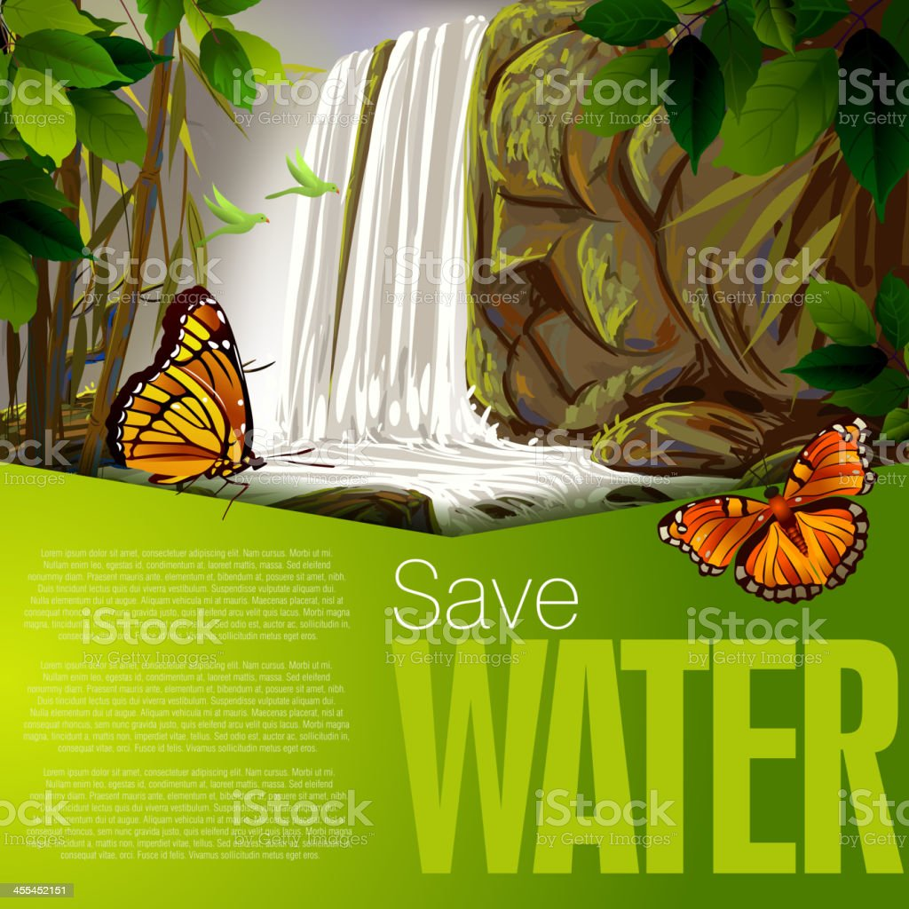 Beautiful Water Fall royalty-free beautiful water fall stock vector art & more images of art
