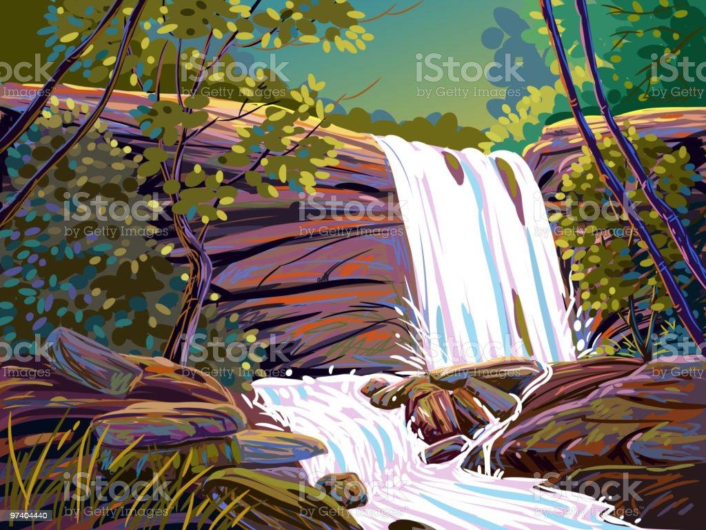 Beautiful Water fall royalty-free stock vector art