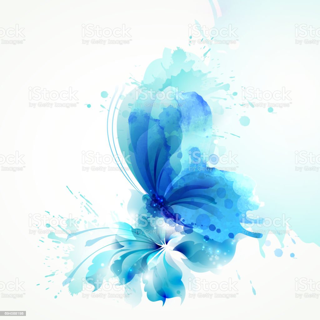 Beautiful watercolor abstract translucent butterfly on the blue flower on the white background. vector art illustration