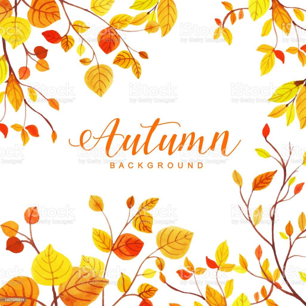 Belle aquarelle automne feuilles fond belle aquarelle automne feuilles fond vecteurs libres de droits et plus d'images vectorielles de a la mode libre de droits
