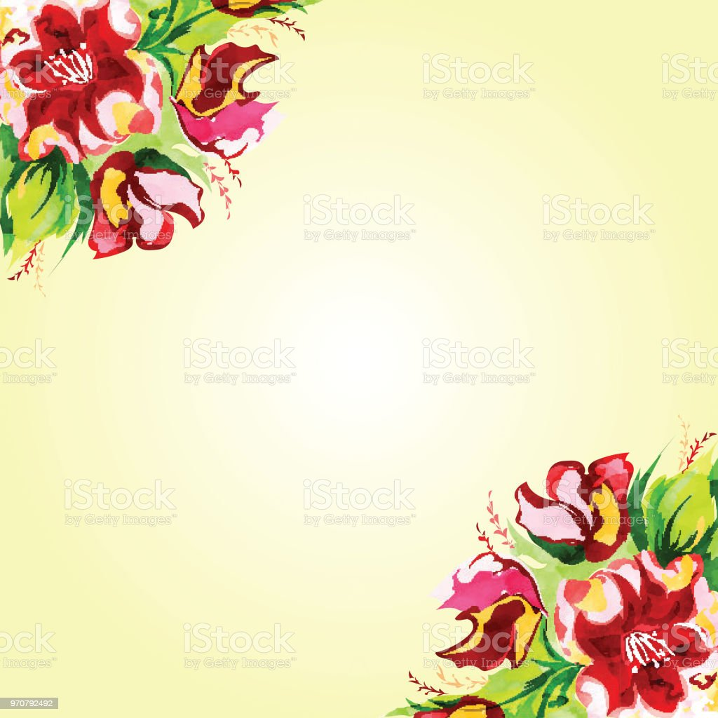 Beautiful Watercolor Flowers Decorated Background Can Be