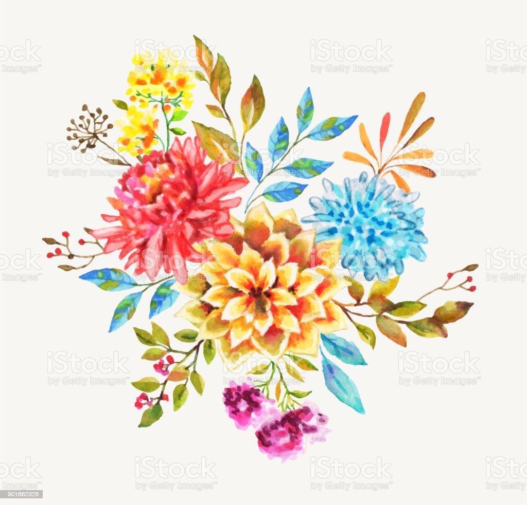 Beautiful Watercolor Flowers For You Design Stock Vector Art More